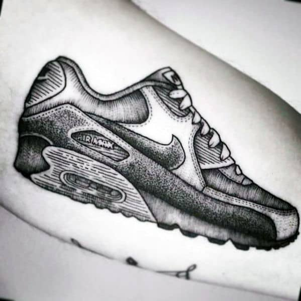 Inner Arm Bicep Shaded Awesome Guys Nike Shoe Tattoos
