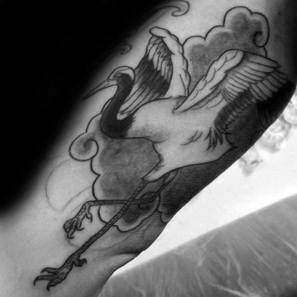 Inner Arm Bicep Shaded Black And Grey Ink Guys Crane Tattoos