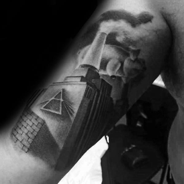 Inner Arm Bicep Shaded Creative Pink Floyd Tattoos For Men