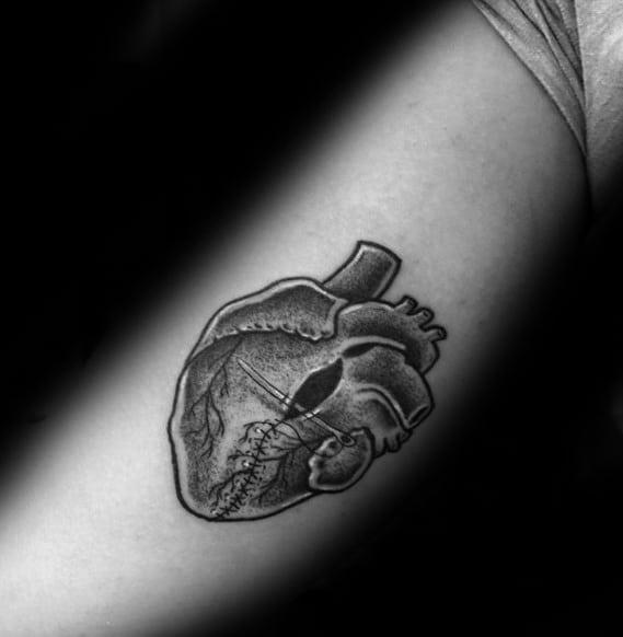 Inner Arm Bicep Shaded Guys Broken Heart Tattoos