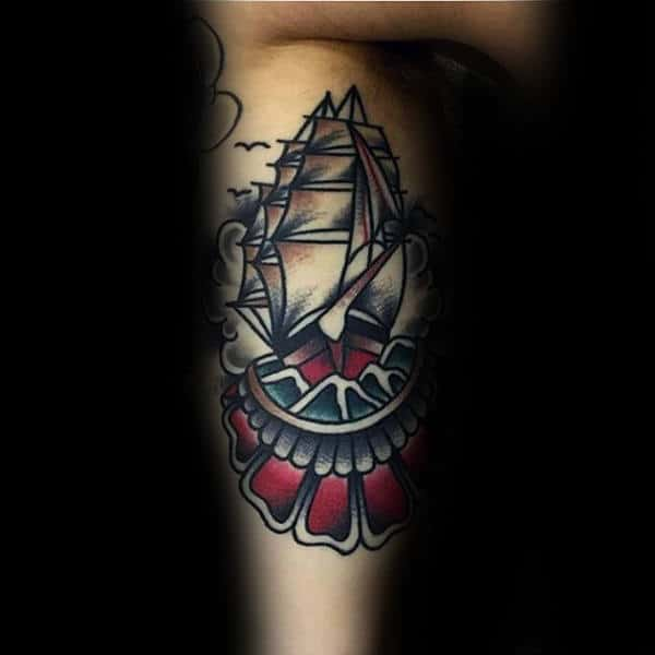 Inner Arm Bicep Ship Tattoos For Guys With Traditional Style Design