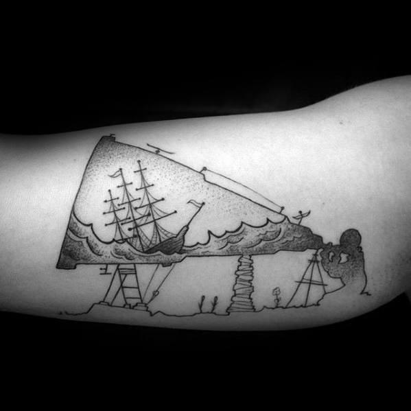 Inner Arm Bicep Sinking Ship Telescope Tattoo Designs For Guys
