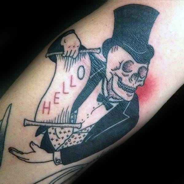 Inner Arm Bicep Skull Magician Guys Tattoo Designs