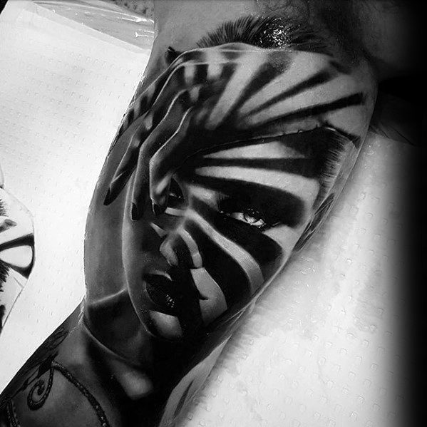 Inner Arm Bicep Striped 3d Mens Tattoo With Rad Design