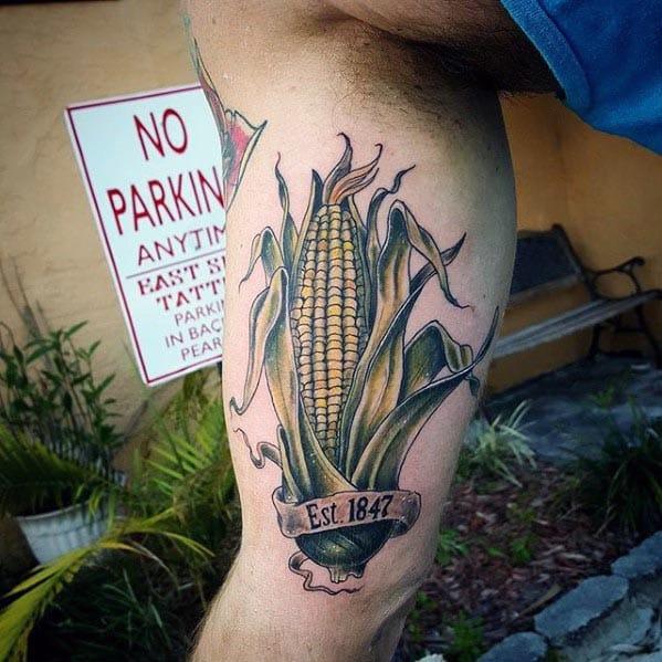 Inner Arm Bicep Tattoo Corn Designs For Men