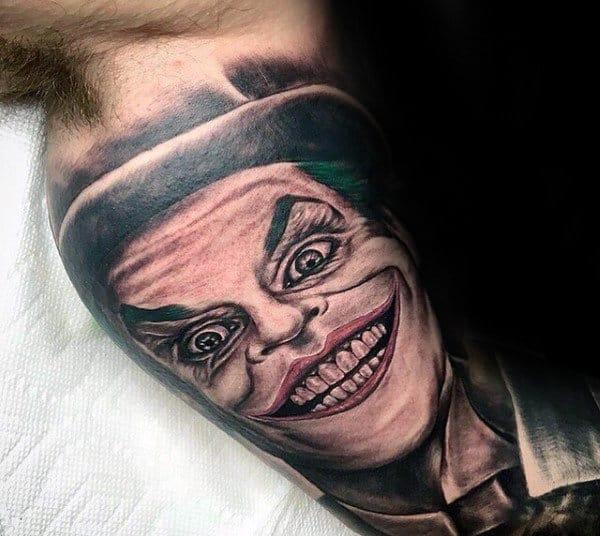 Inner Arm Bicep Tattoo Of Joker On Gentleman
