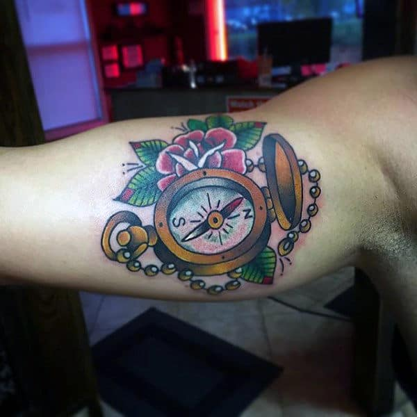Inner Arm Bicep Traditional Compass Tattoo Design Ideas For Men