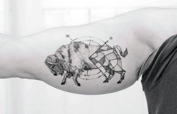 Inner Arm Bicep Unique Mens Buffalo Geometric Tattoo