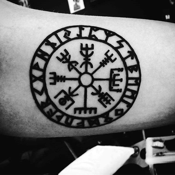 Inner Arm Bicep Viking Compass Tattoo Design On Gentleman