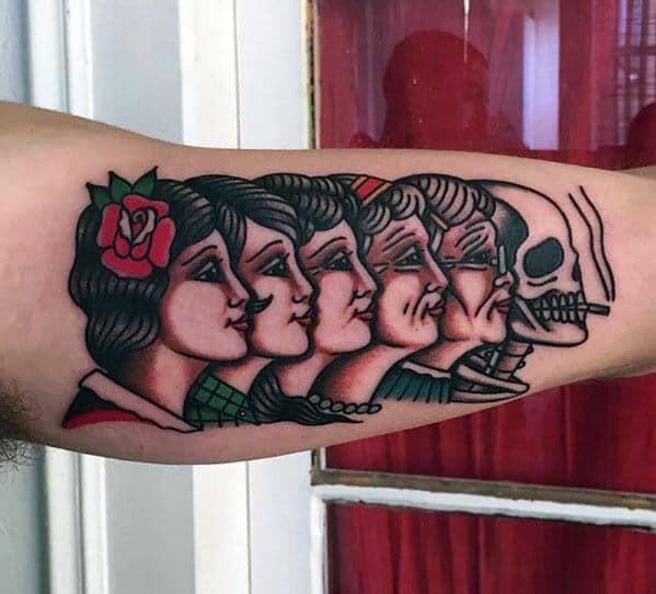Inner Arm Bicep Vintage Mens Tattoo Designs
