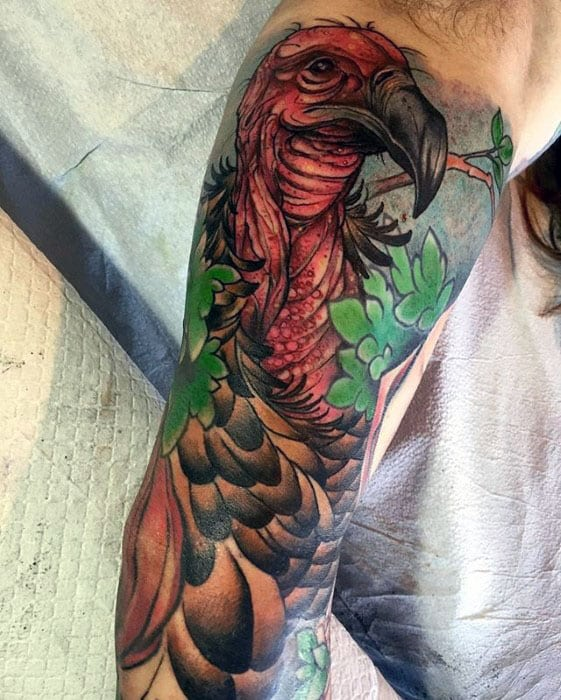 Inner Arm Bicep Vulture Tattoos For Guys