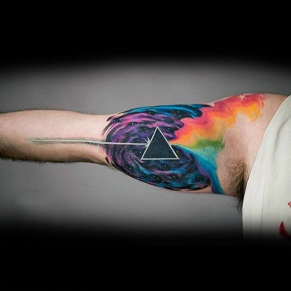 Inner Arm Bicep Watercolor Mens Awesome Pink Floyd Tattoo Ideas