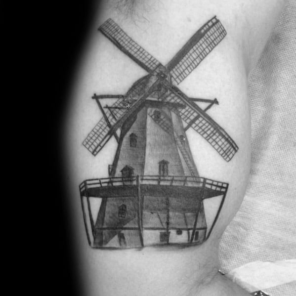 Inner Arm Bicep Windmill Shaded 3d Tattoo Ideas For Guys