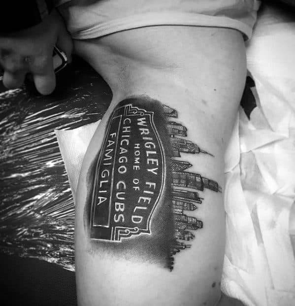 Inner Arm Bicep Wrigley Field Chicago Cubs Guys Tattoo Designs