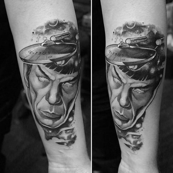 Inner Arm Black And Grey Ink Male With Cool Star Trek Tattoo Design