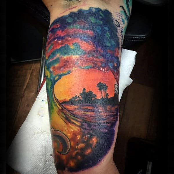 Inner Arm Colorful Mens Ocean Wave Tattoos