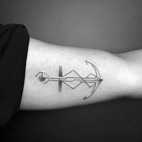 Inner Arm Geometric Guys Simple Anchor Tattoos