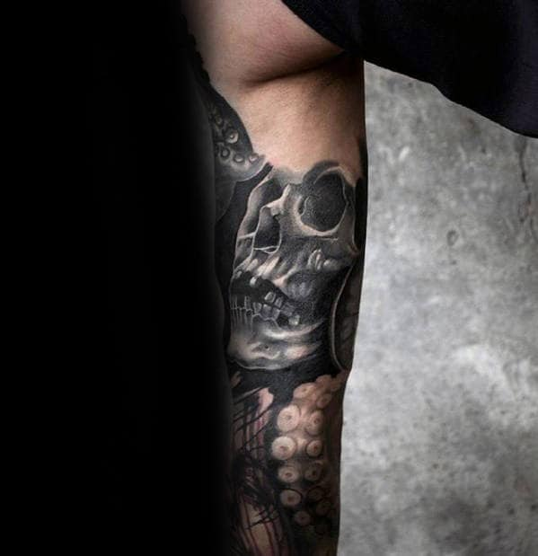 Inner Arm Guys 3d Shaded Grey Skull Tattoos