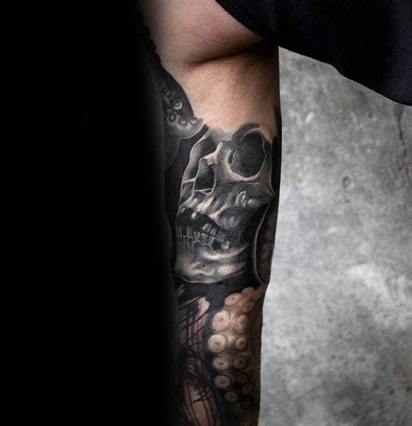 Inner Arm Guys 3d Shaded Grey Skull Tattoos
