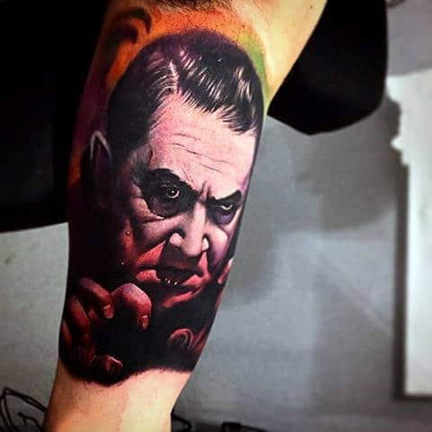 Inner Arm Guys Colorful 3d Dracula Portrait Tattoo Inspiration