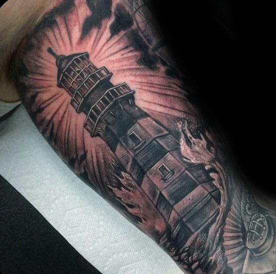 Inner Arm Guys Nautical Lighthouse Sleeve Tattoo
