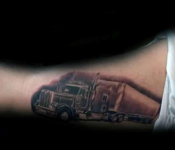 Inner Arm Guys Shaded Semi Truck Tattoo Inspiration