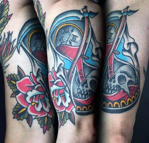 Inner Arm Guys Traditional Hourglass Skeleton Tattoo Ideas