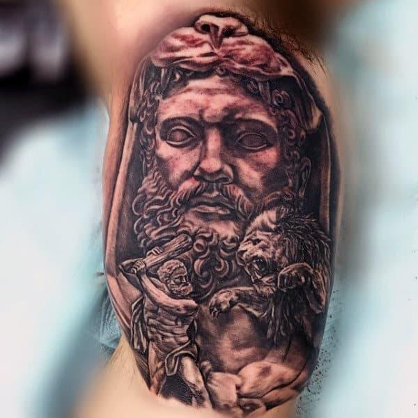 Inner Arm Hercules Battle Lion Tattoo For Man
