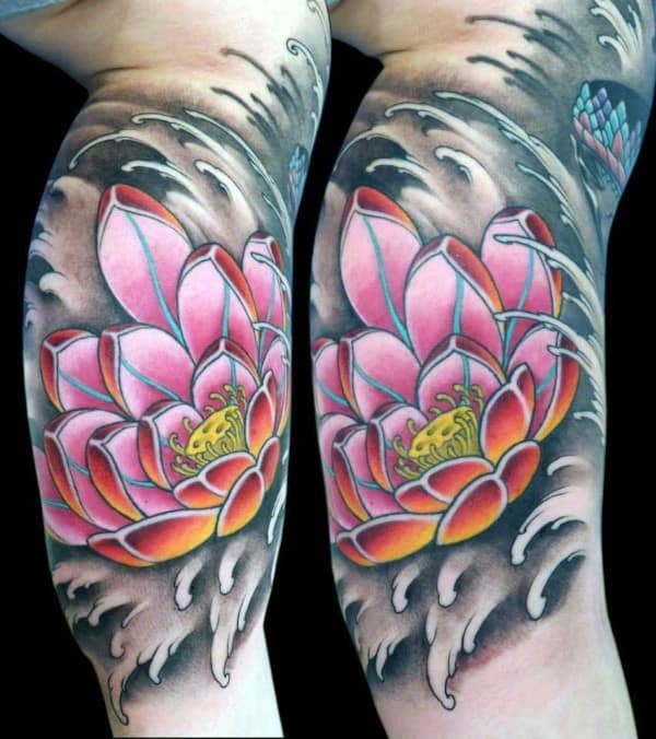 Inner Arm Lotus Flower Water Waves Guys Tattoos