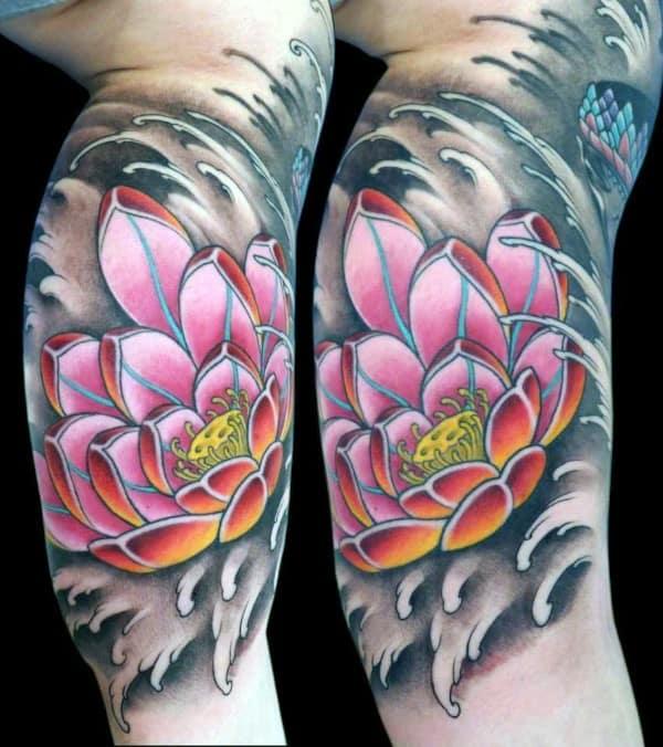 Inner Arm Lotus Flower Water Waves Guys Tattoos