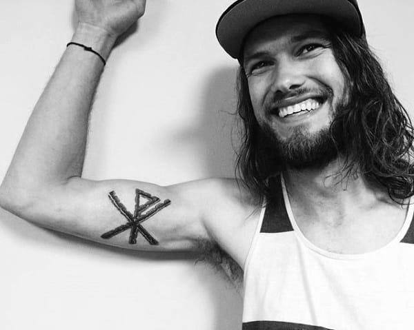 Inner Arm Male Chi Rho Tattoo Design Inspiration