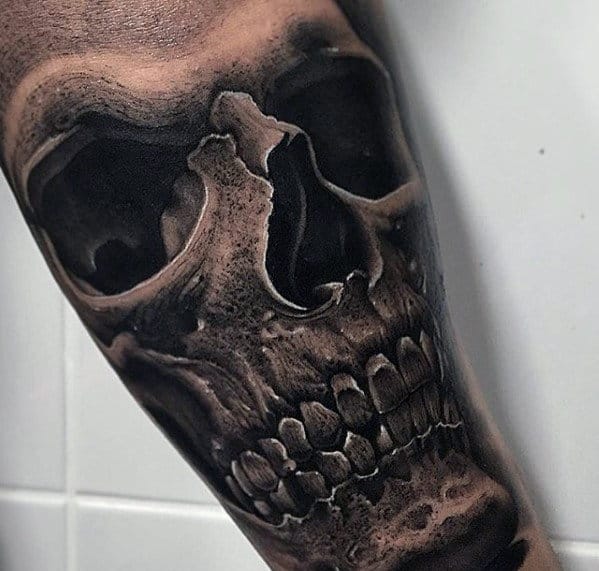 Inner Arm Male Hyper Realistic Skull Tattoo