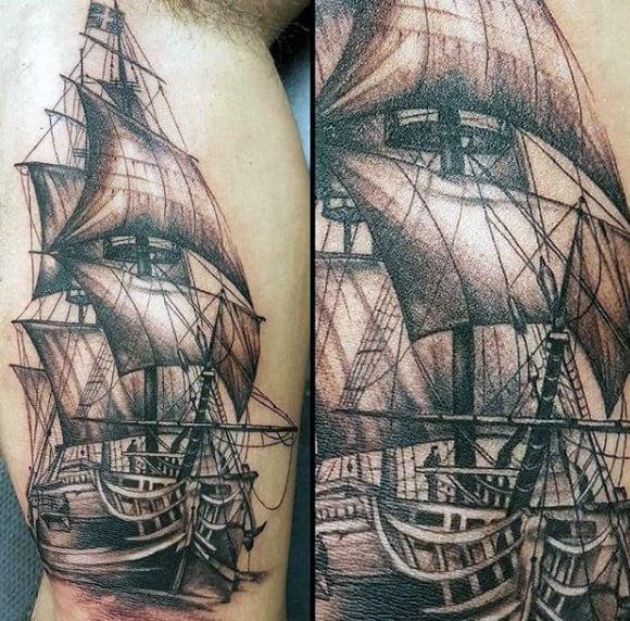 Inner Arm Mens Nautical Sailing Ship Tattoo