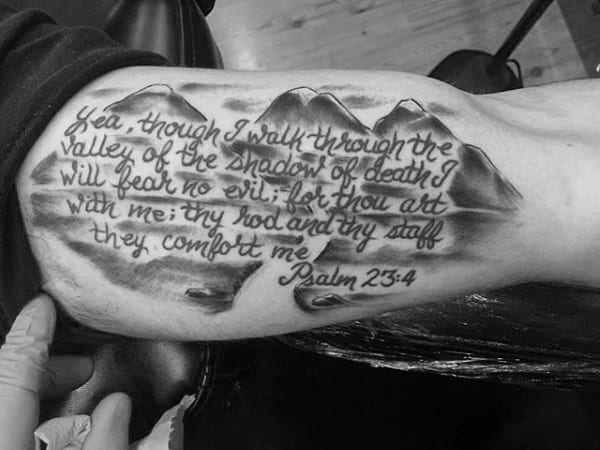 Inner Arm Mountains With Psalm 23 Bible Verse Guys Tattoo