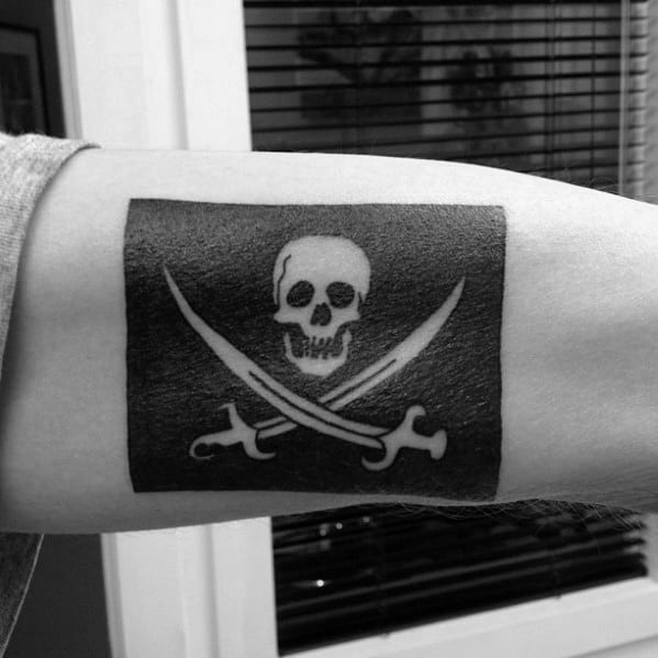 Inner Arm Pirate Flag Negative Space Blackwork Tattoos For Guys