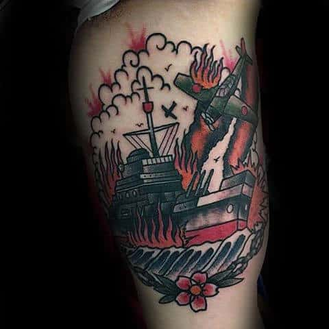 Inner Arm Plane And Navy Ship War Tattoo For Guys