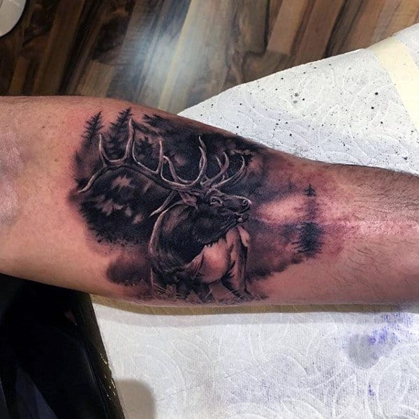 Inner Arm Realistic Antlers On Deer Tattoo For Guys