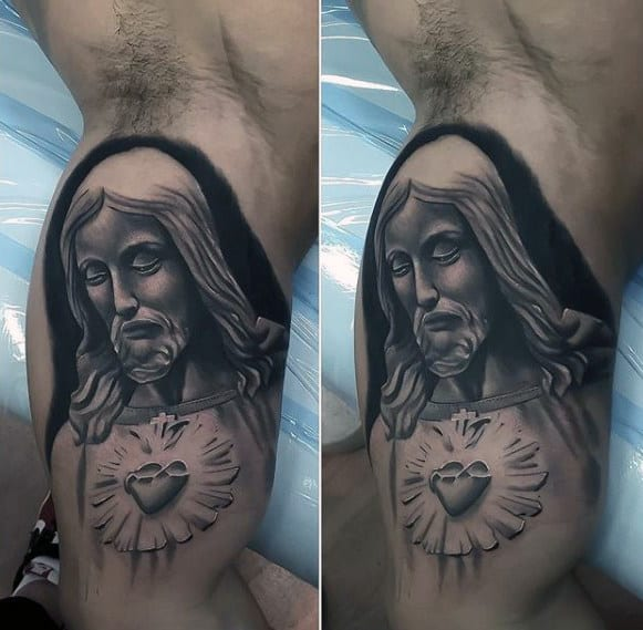 Inner Arm Sacred Heart Jesus Mens 3d Tattoos