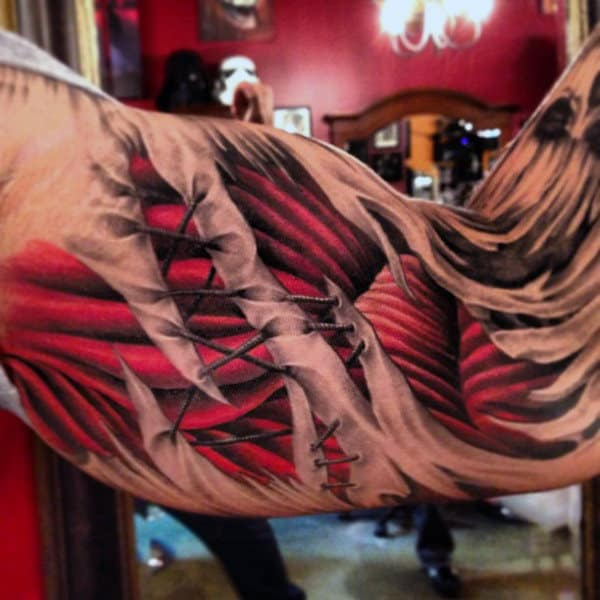 Inner Arm Stiched Muscle Mens 3d Tattoo Ideas