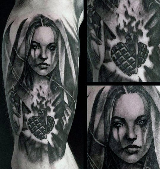 Inner Arm Virgin Mary Flaming Heart Tattoos For Men