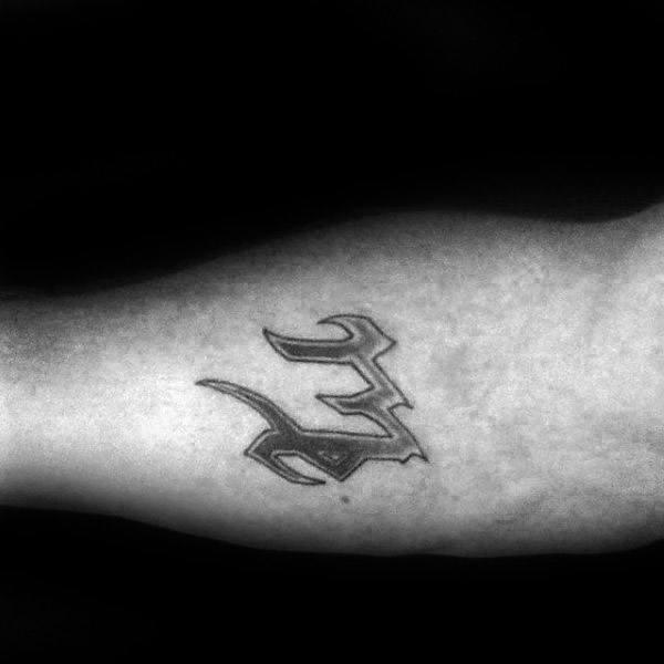 Inner Arm Virgo Symbol Astrological Sign Male Tattoos