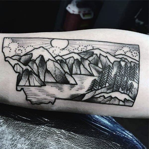 Inner Armmale Tattoo With Lake Design