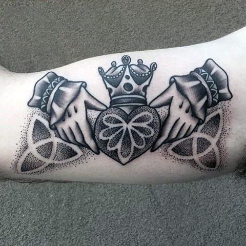 Inner Bicep Claddagh Guys Tattoos