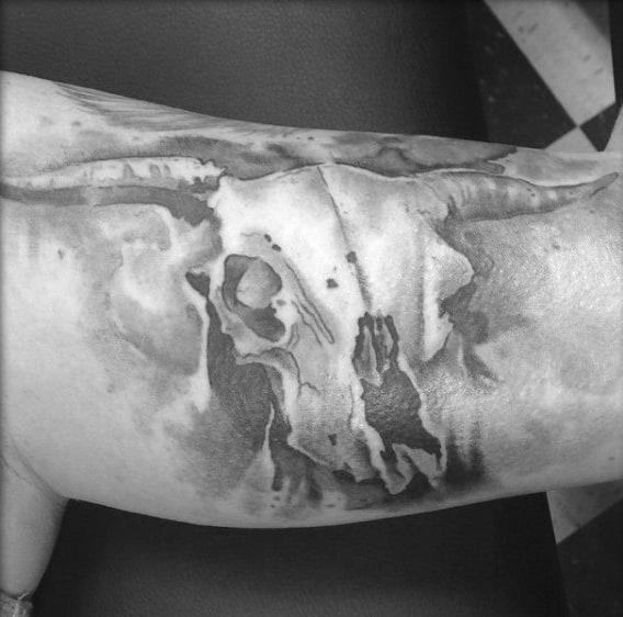 Inner Bicep Guys Bull Skull Tattoo