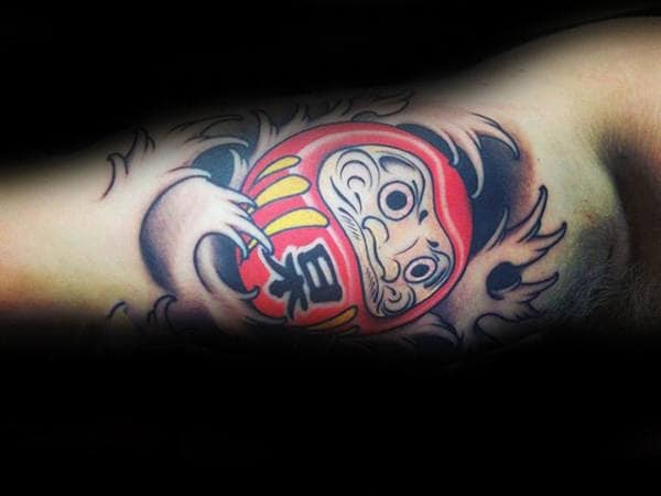 Inner Bicep Waves Red Daruma Doll Tattoos For Males
