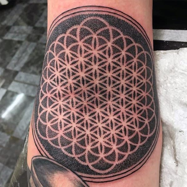 Inner Elbow Mens Flower Of Life Dotwork Tattoos
