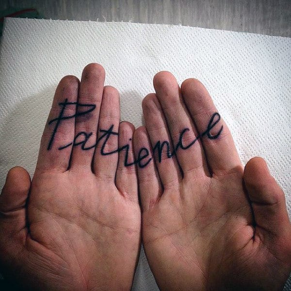 Inner Finger Word Tattoos For Men With Patience