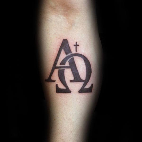 Inner Foream Alpha Omega Tattoo With Small Cross For Guys