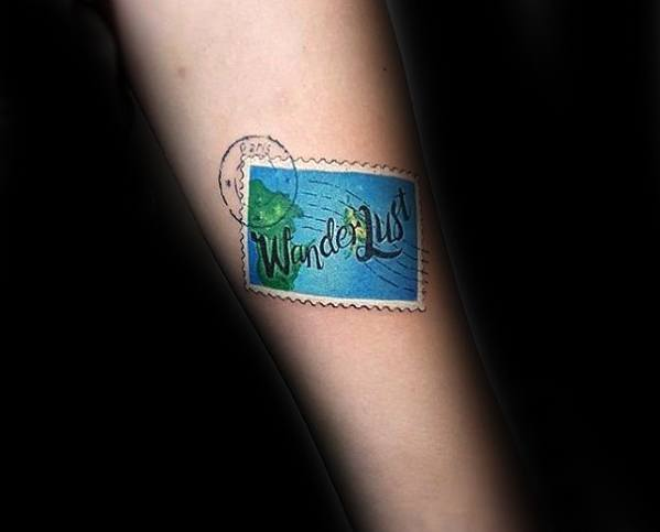 Inner Foream Wunderlust Postage Stamp Mens Tattoo Designs