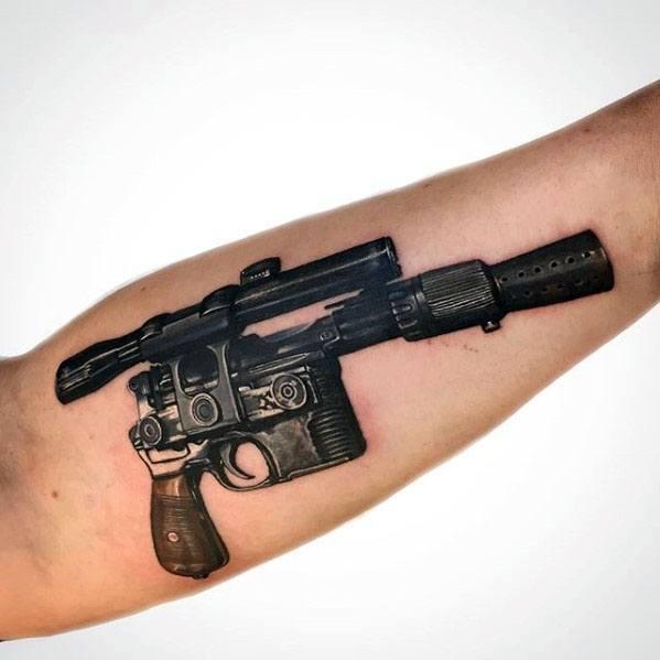 Inner Forearm 3d Blaster Pistol Han Solo Mens Tattoo Designs